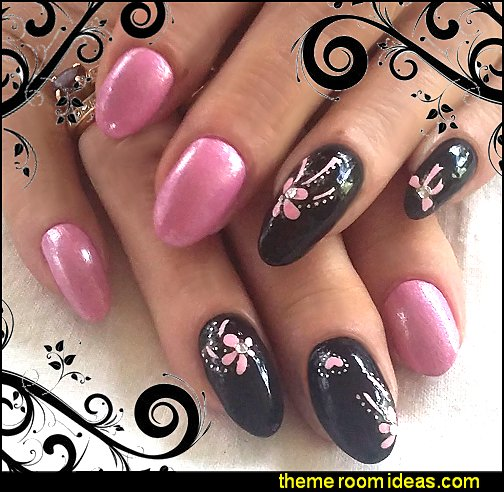 pink black nail design pink nail stickers nail decals decorating nails maries manor themed decorating