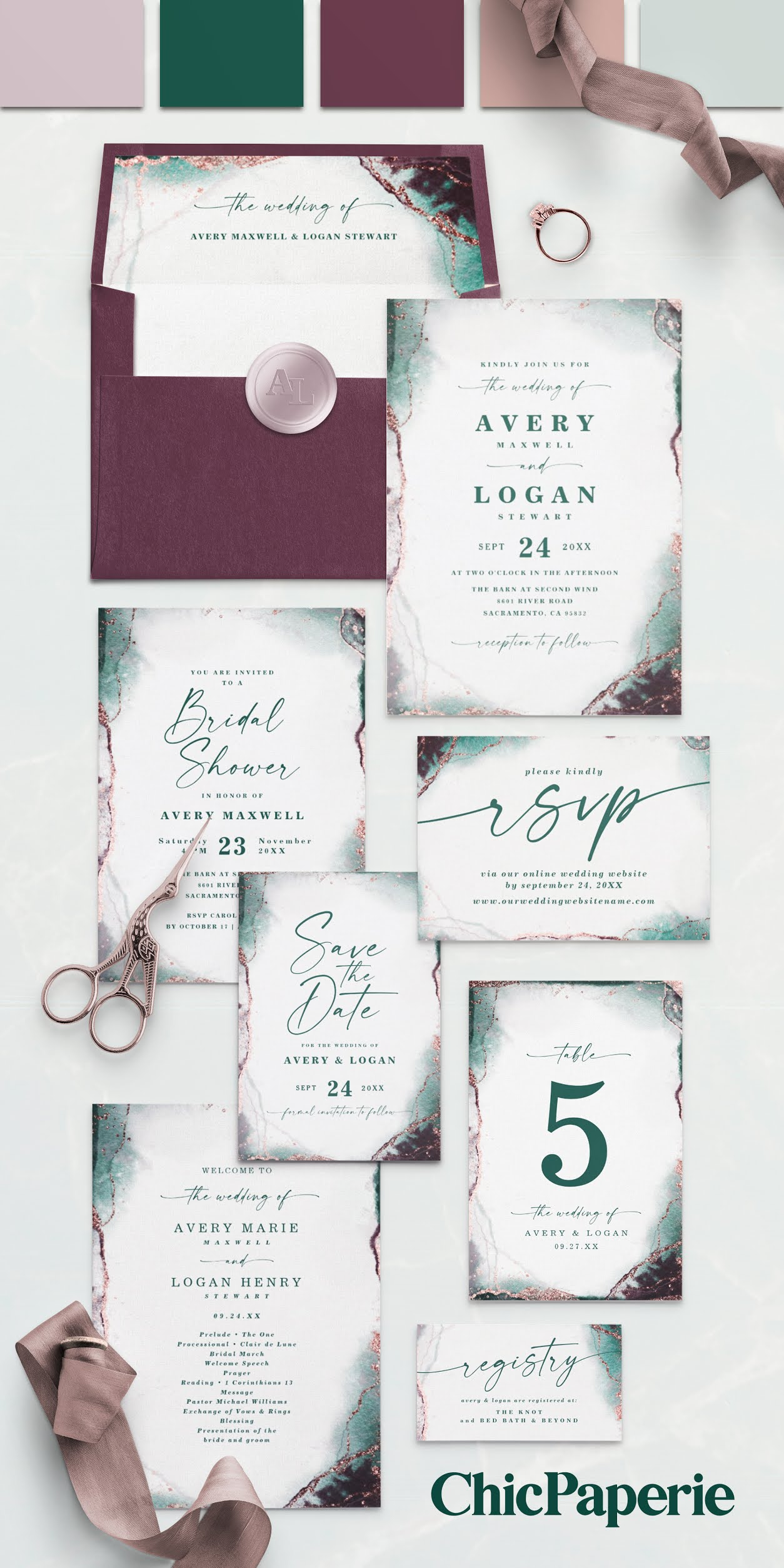 Abstract Watercolor Wedding Suite: Emerald Green, Mauve, Sangria Purple, Rose Gold, and Dusty Green