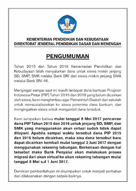 Pengumuman Pemberitahuan Pencairan Dana Program Indonesia Pintar Tahu 2015-2016 dengan Menggunakan Akun Virtual