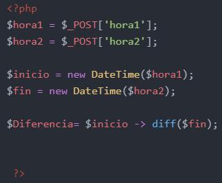 Calcular la diferencia de horas en PHP