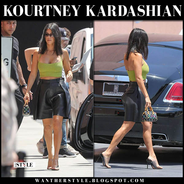 Kourtney Kardashian in green crop top and black leather bermuda shorts dsquared2 summer street style july 19