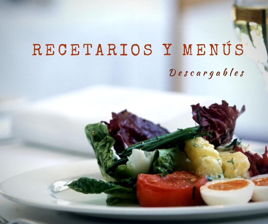 Recetarios y menús de comida para imprimir