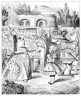 [Mynd: Drottningin öskrar á Lísu.]