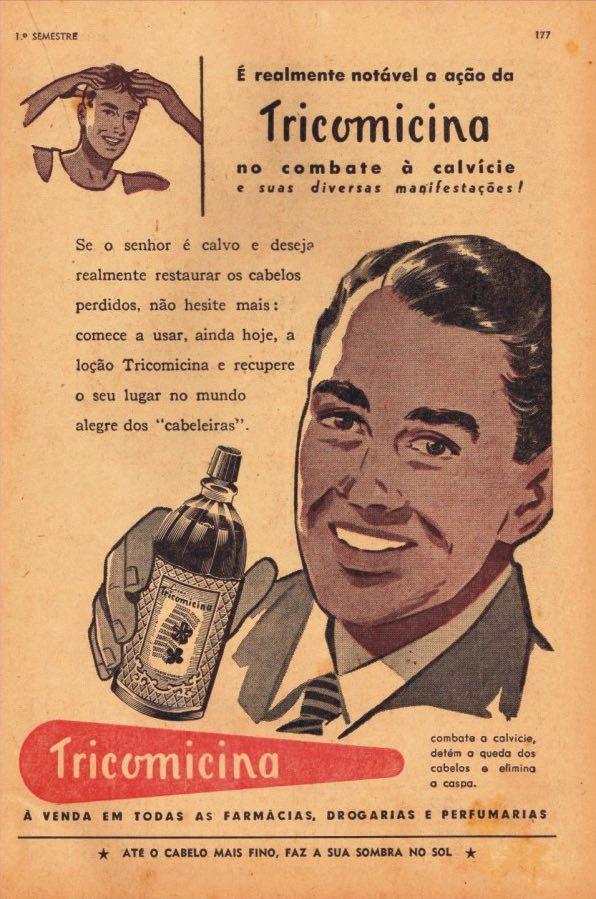 Propaganda antiga de produto para combater a calvície em 1955