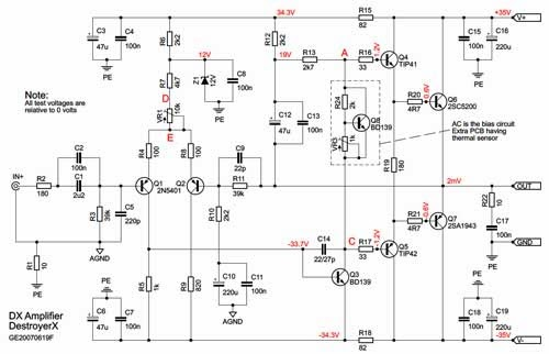 100 w amplifier 2sa1943 - 2sc5200 dx-amp | servis elektro dx 40 schematic  #14