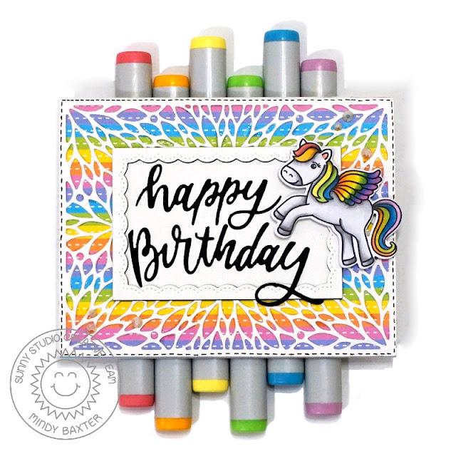 Sunny Studio Stamps: Blooming Frame Dies Prancing Pegasus Fancy Frame Dies Birthday Card by Mindy Baxter