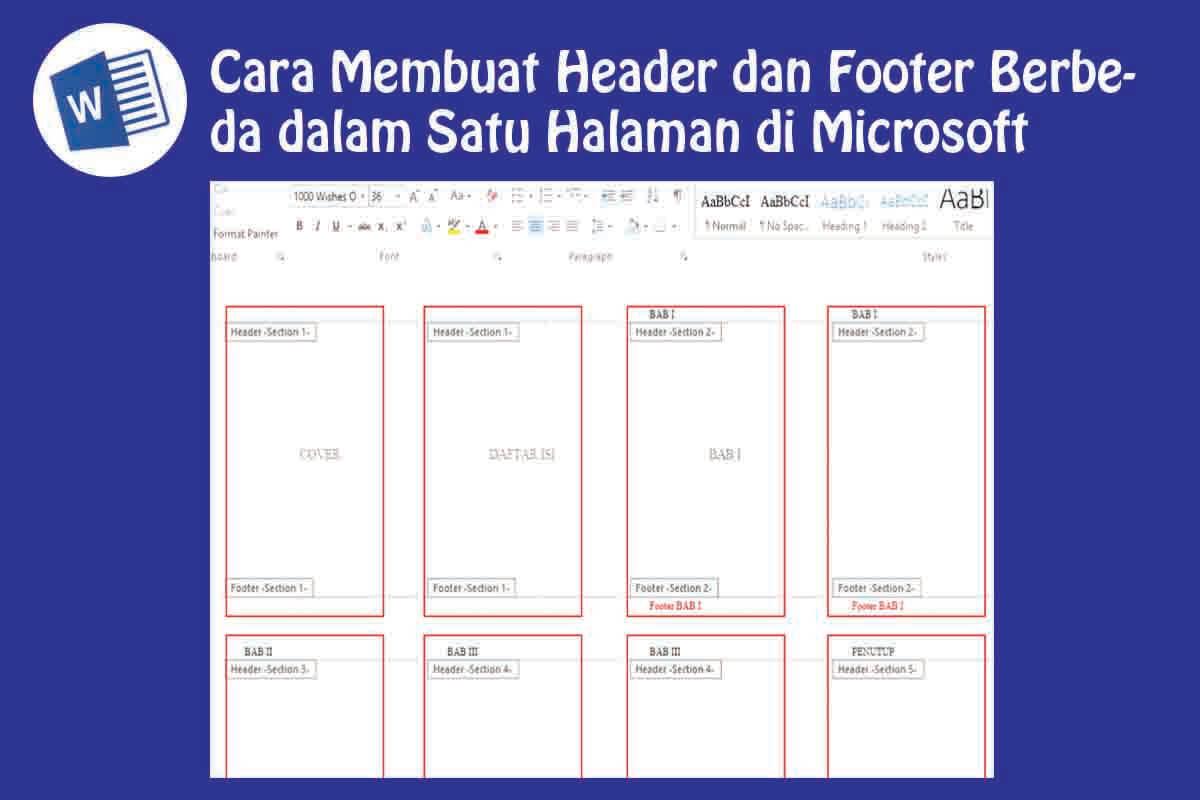 Cara Membuat Header dan Footer Berbeda di Word