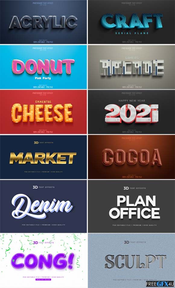Photoshop 3D Text Effects PSD