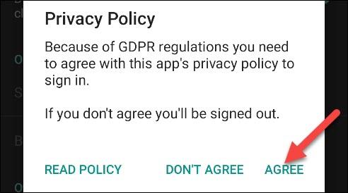 """اضغط على """"موافق"""" بعد قراءة سياسة الخصوصية."""