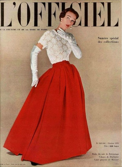 Sophie Malgat in red Balenciaga Evening Gown for Cover of L'Officiel October 1950
