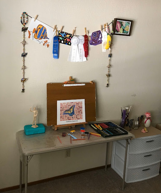 Picture of my small art space where I create my masterpieces!