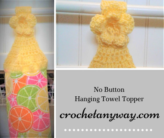 crochet topper with a flower instead of a button