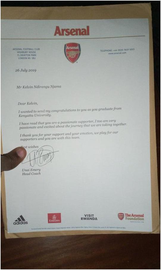 Arsenal manager UNAI EMERY sends KEVIN of Kenyatta University best