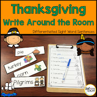 Thanksgiving Write Around the Room: Differentiated Sight Word Sentences