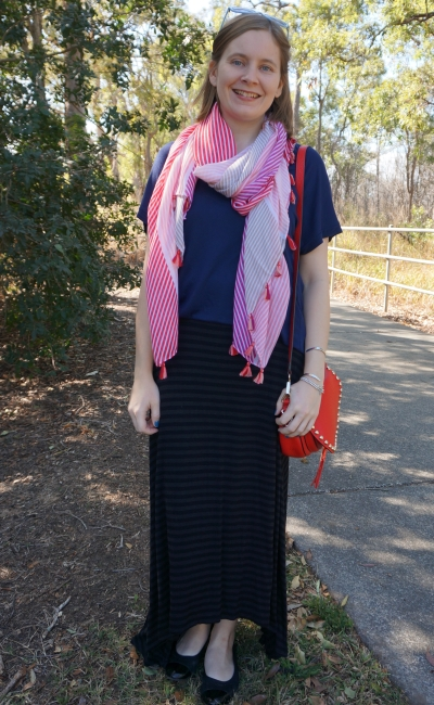 stiped blaxk maxi skirt with pink tassel scarf and navy tee saddle bag spring outfit | awayfromblue