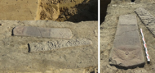 Two Roman funerary stelae revealed at Strasbourg tram construction site