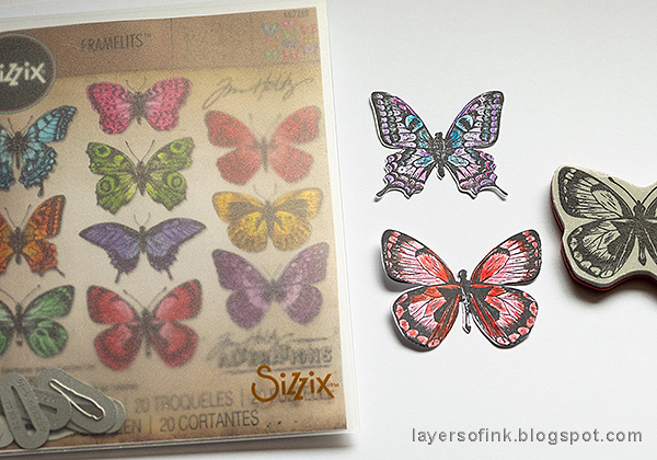Layers of ink - Mist Resist Tutorial by Anna-Karin Evaldsson. Color the butterflies.