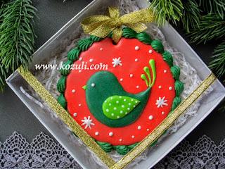 Новогоднее печенье Рождественская птичка в коробке 12х12х3, белый бумажный наполнитель