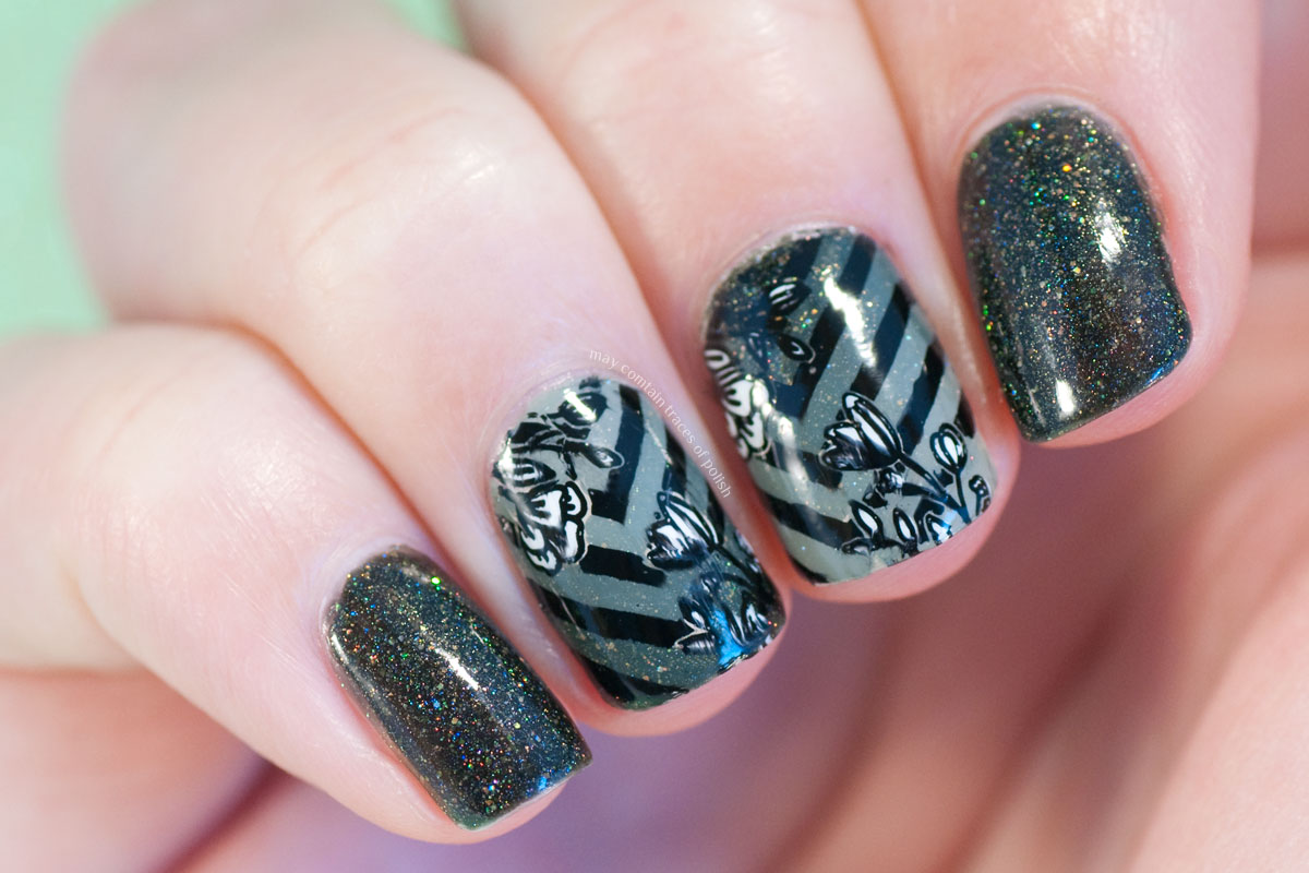 Floral Stamping Chevron Nail Art with MoYou Flower Power 27
