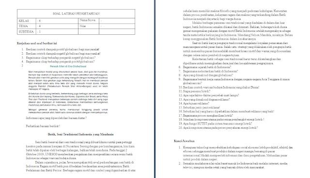 Soal Ulangan Harian Kelas 6 Tema 4