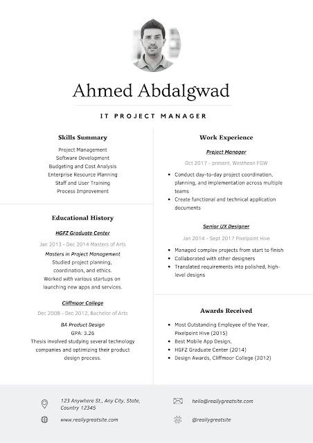 قالب إنشاء سيرة ذاتية PDF انجليزي