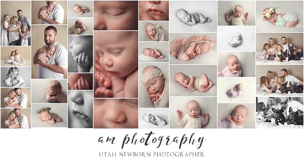 utah county newborn photography of baby girl and family