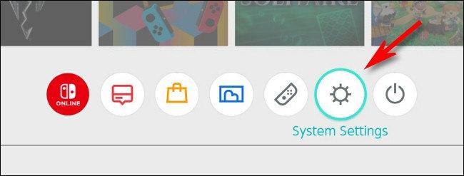 """في قائمة تبديل الصفحة الرئيسية ، حدد رمز الترس """"إعدادات النظام""""."""
