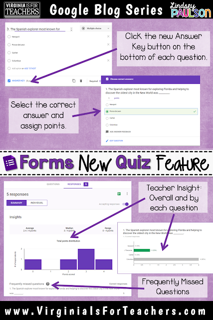 How to grade work with Google Forms easily with new Quiz feature on VirginiaIsForTeachers.com