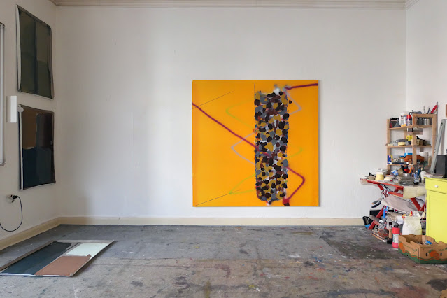 """Michel Carmantrand Untitled till now (totem), 185x185cm (72.8x72.8""""), acrylic paint and oil on canvas."""