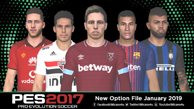 PES 2017 New Option File January 2019 - Micano4u | PES Patch | FIFA