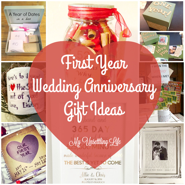 My unsettling life first year wedding anniversary gift ideas
