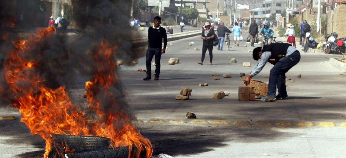 Bloqueos en K'ara K'ara en mayo, en medio de la cuarentena / ARCHIVO EL DEBER