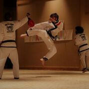 A martial arts black belt doing a jump kick on a taekwondo target