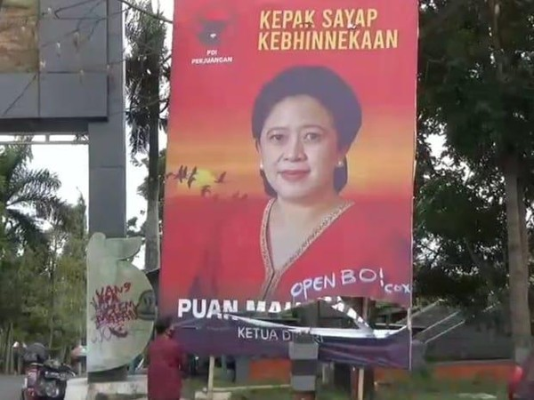 Baliho Puan Maharani Jadi Korban Vandalisme 'Open BO' di Kota Batu