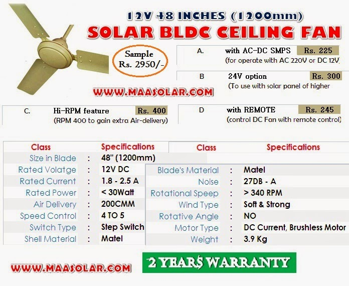 Solar BLDC 24V Ceiling Fan Manufacturer India: 2015