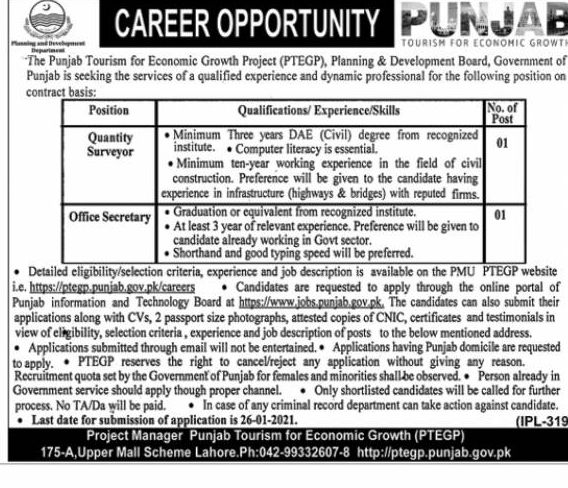 Planning and Development Lahore Jobs Advertisement 2021 Apply Online