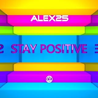 Square room with bars in blue, green, orange, purple and pink where there are mirrors on the sides and in the center a red text that says Stay Positive