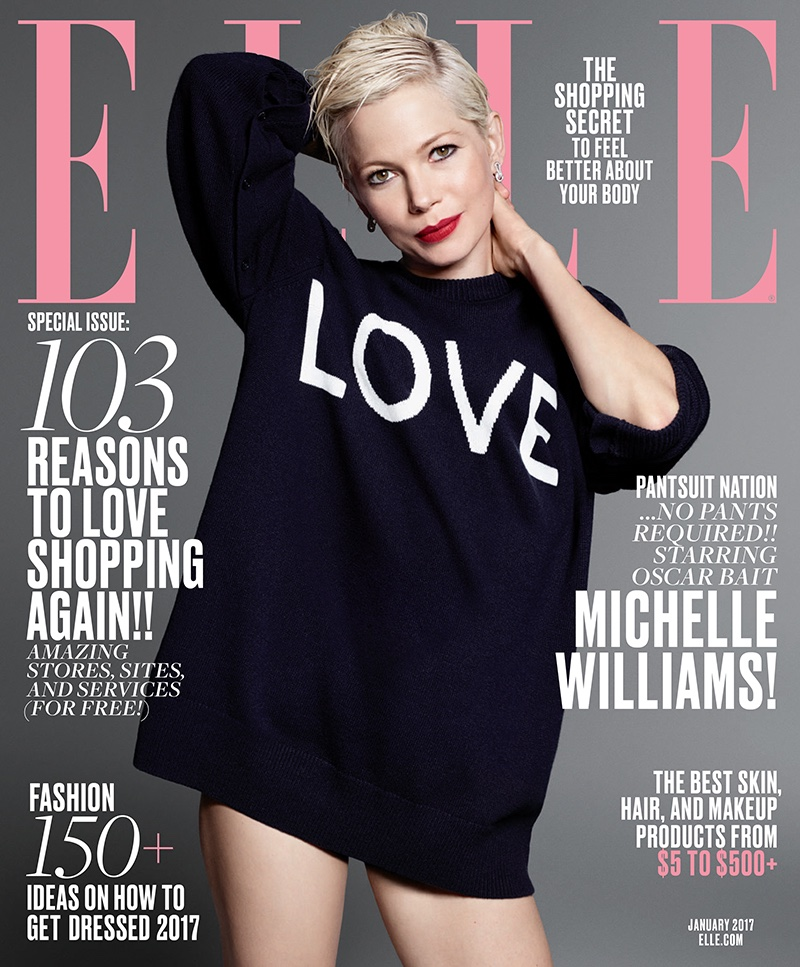 Michelle Williams en couverture du ELLE de Janvier 2017 par Terry Tsiolis