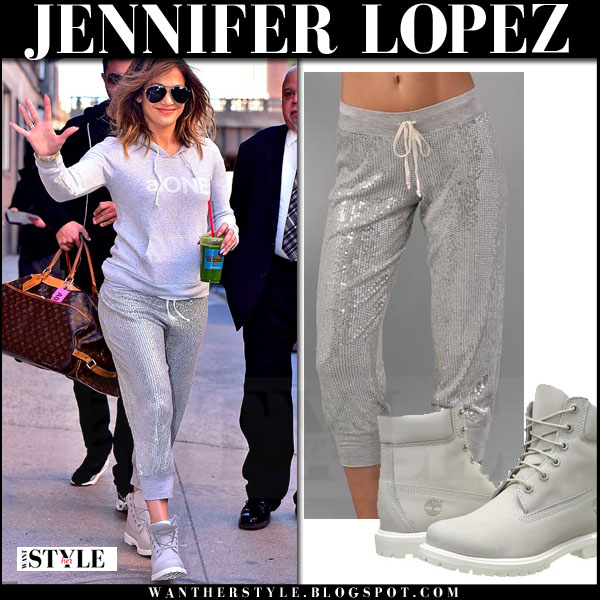 Jennifer Lopez in silver sequin haute hippie sweatpants what she wore streetstyle