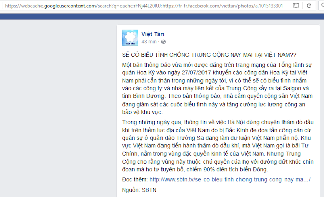 Việt Tân lại hoang tin về biểu tình