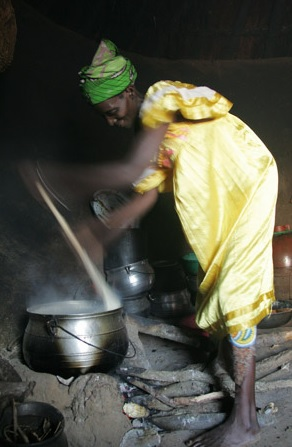 Cooking in Benin Africa