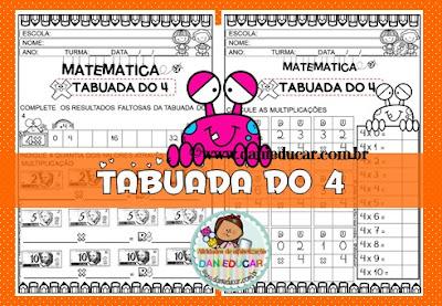 Atividades de Matemática, Ensino fundamental, multiplicação, PDF, Tabuada, Tabuada do 4,