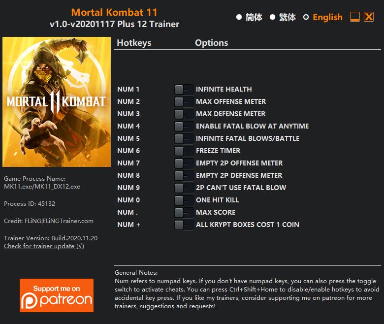 Mortal Kombat 11: Trainer (+12) [1.0 - 17.11.2020]