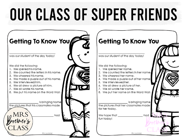 Our Class of Super Friends back to school activity for Kindergarten