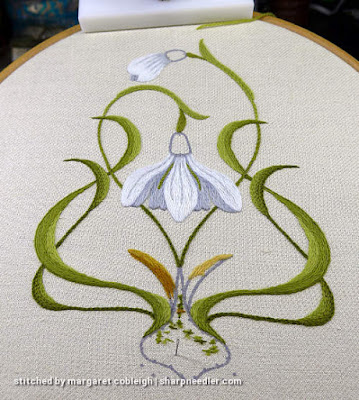 Basic snowdrop embroidery complete with addition of grey contour lines