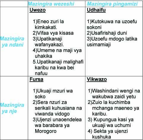 Tathmini ya NUFUVI(SWOT Analysis)