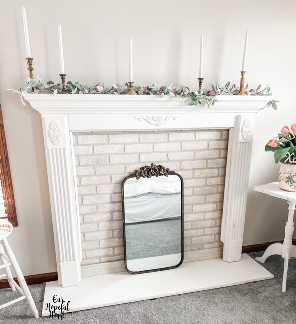 French mirror faux fireplace white brick