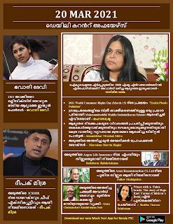 Daily Malayalam Current Affairs 20 Mar 2021