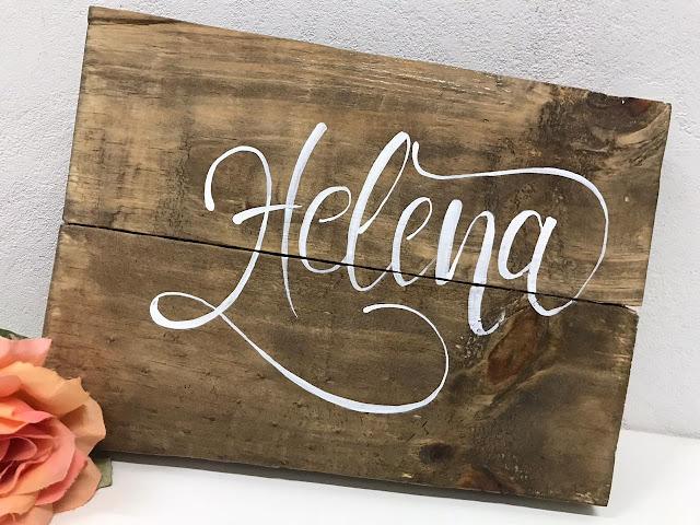 Placa Decorativa em Madeira de Pallet Personalizada com o Nome Helena