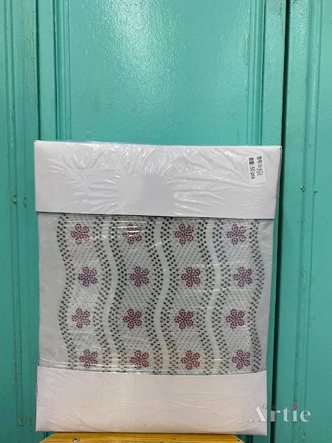 Pelekat hotfix sticker rhinestone DMC aplikasi tudung bawal fabrik pakaian bunga 5 kelopak berombak gray maroon